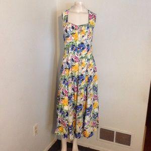 Vintage Floral Full Skirt Rayon Sun Dress S